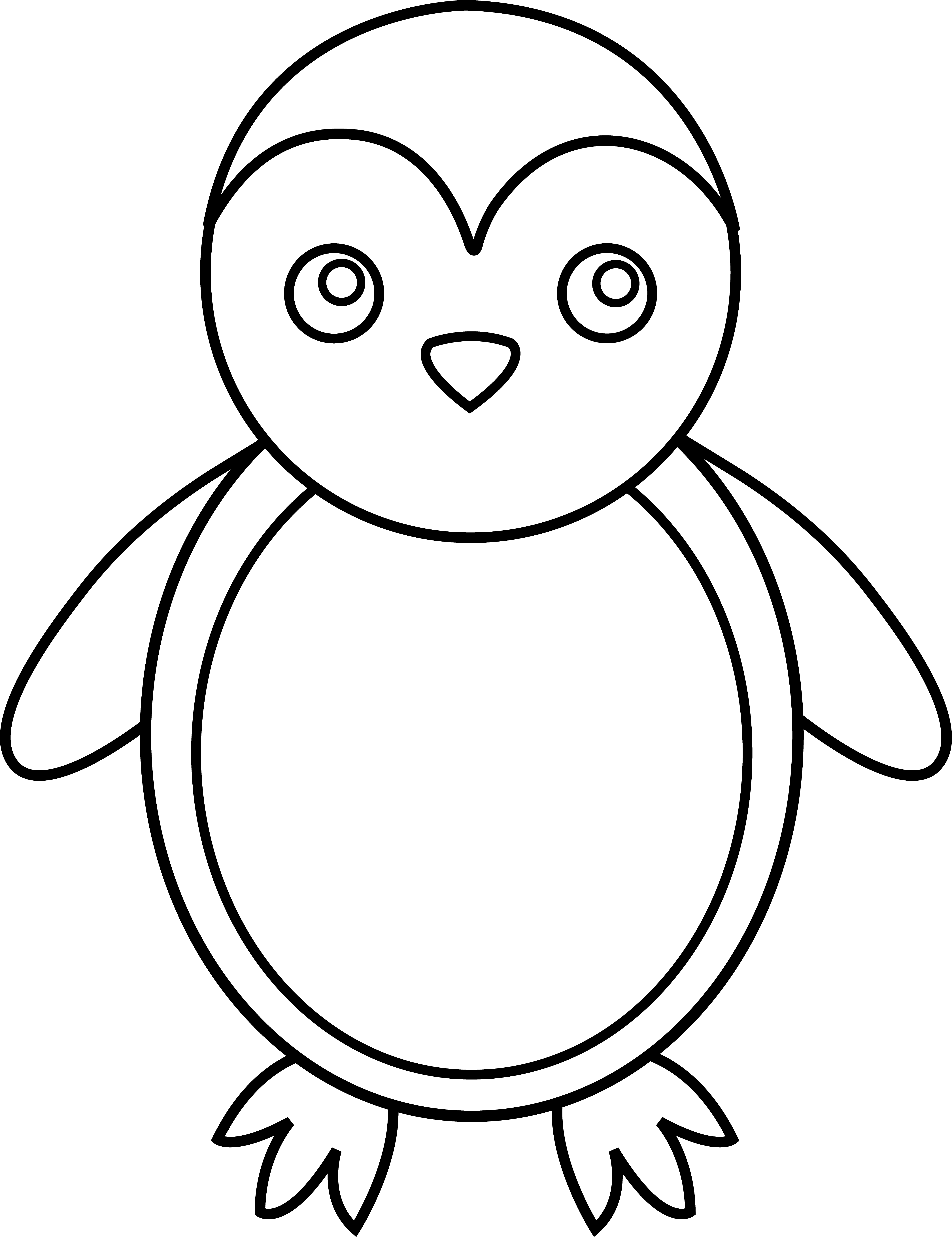 Penguin line art free. Fractions clipart drawing