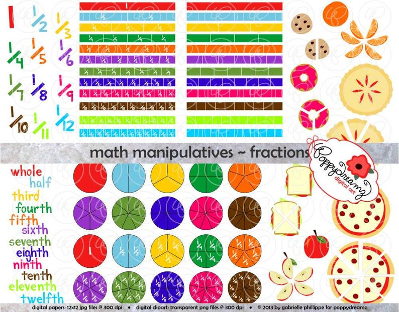 Math manipulatives fractions set. Fraction clipart five child