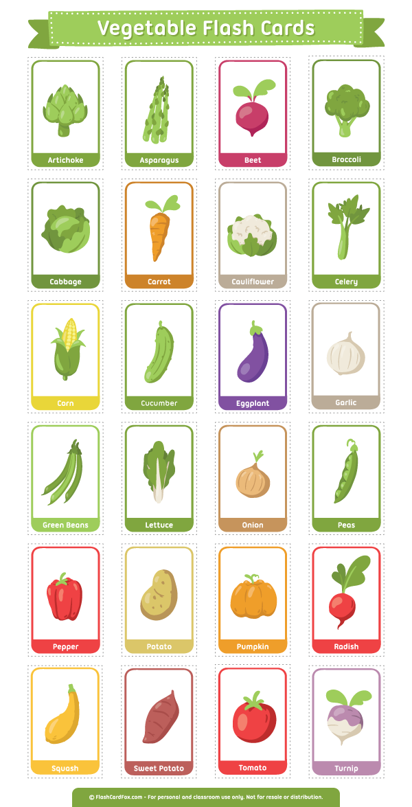 Vegetables clipart printable. Vegetable flash cards description