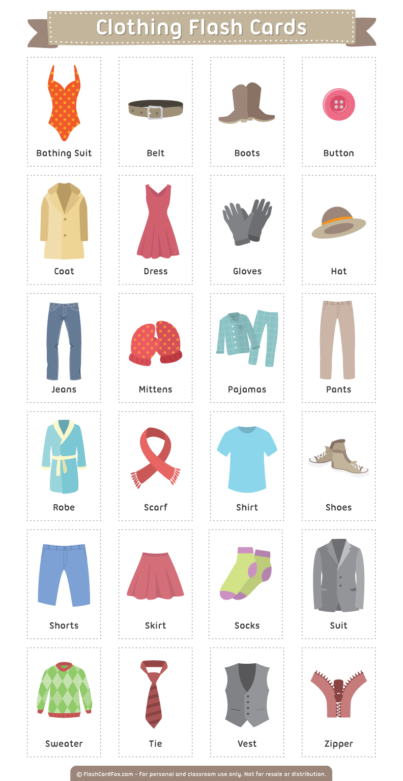 Gloves clipart article clothing. Printable flash cards
