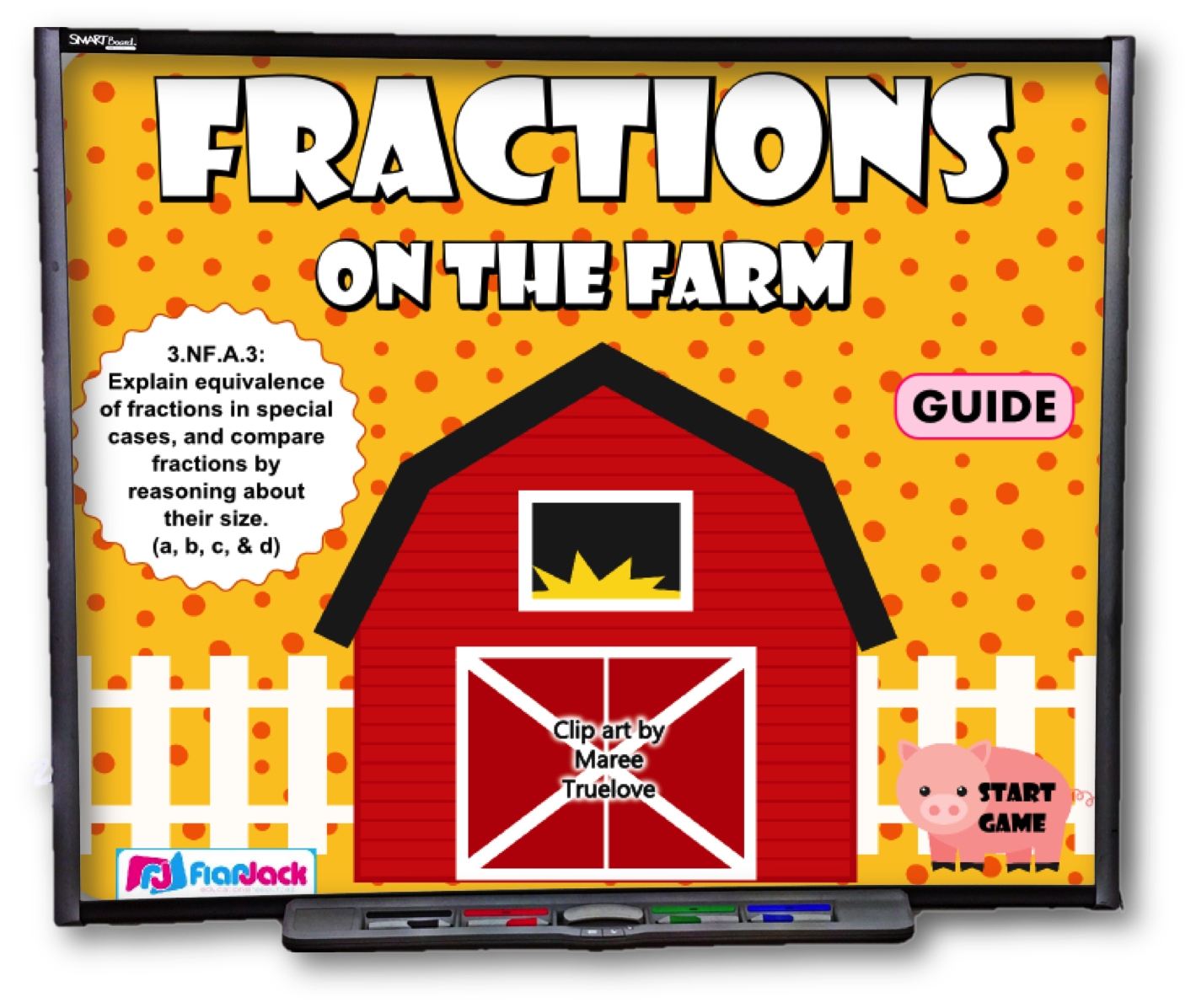 Fractions on the farm. Fraction clipart fraction strip