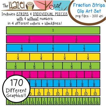 Fractions clipart fraction strip. Strips pieces set clip