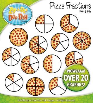 Pizza zip a dee. Fractions clipart five child