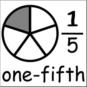 Clip art labeled fractions. Fraction clipart illustration