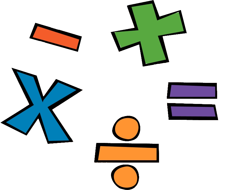 Mathematics cartoon division clip. Fractions clipart math symbol