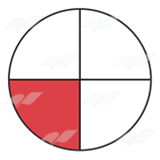 Fraction pie showing red. Fractions clipart one fourth