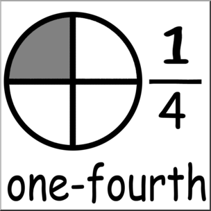 Fractions clipart one fourth. Clip art labeled grayscale