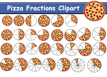 Maths . Fractions clipart pizza printable