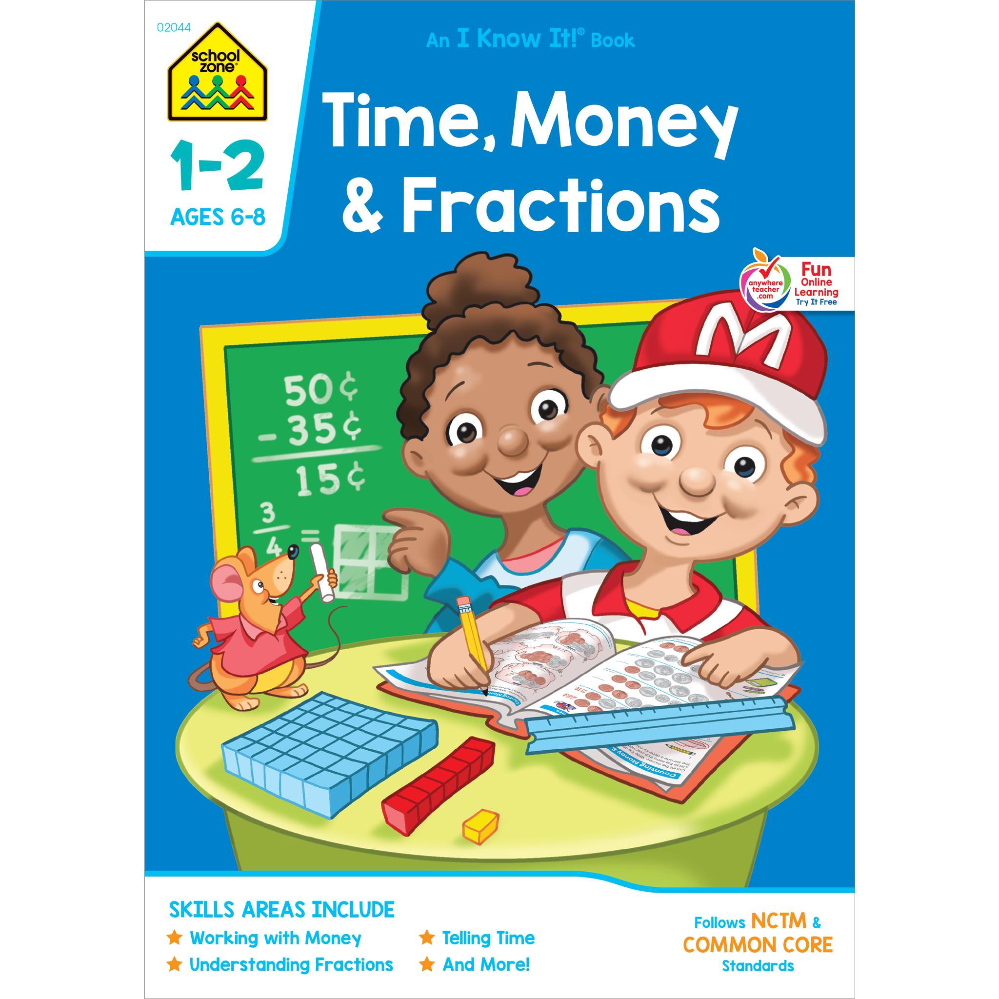 Fraction clipart preschool. Time money fractions workbook
