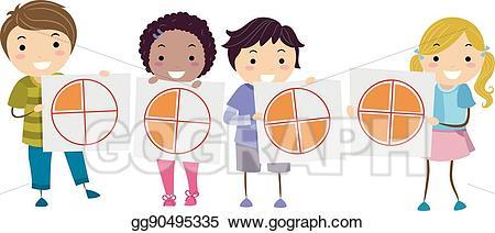 Fraction clipart preschool. Eps illustration stickman kids