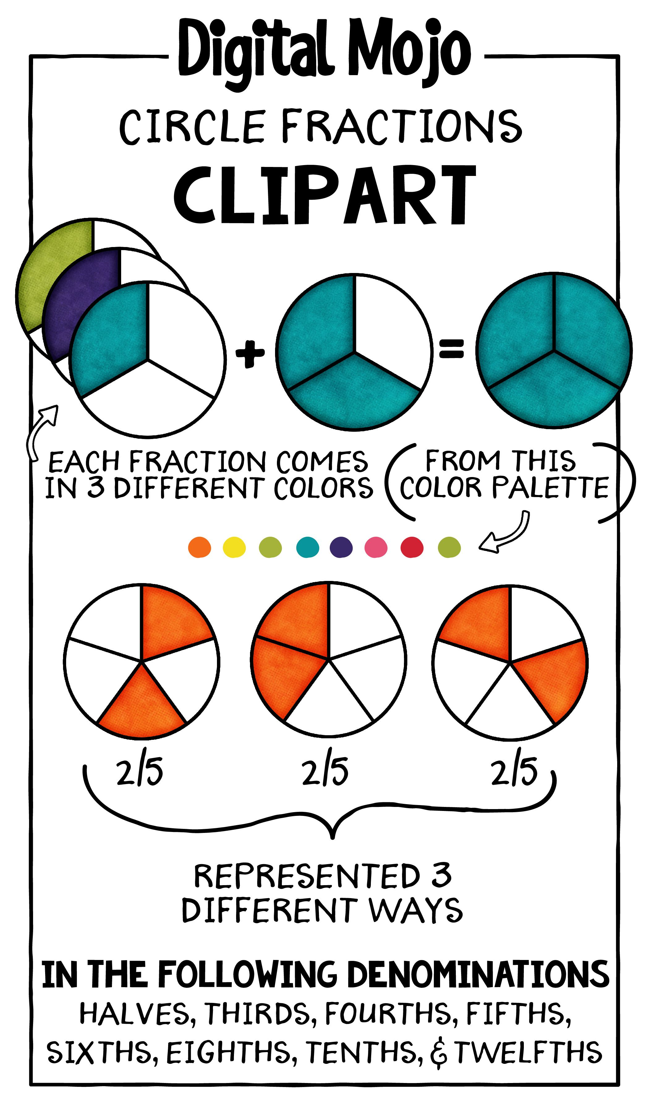 Fraction clipart represented. Circles clip art on