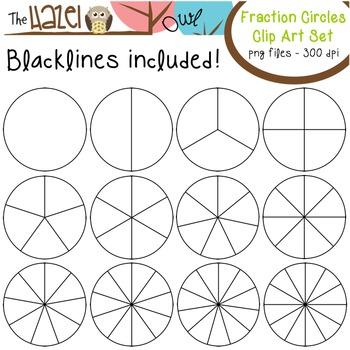 Circles clip art graphics. Fraction clipart set