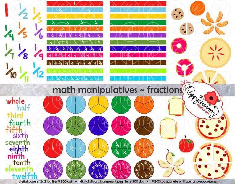 Fraction clipart set. Math manipulatives fractions dpi