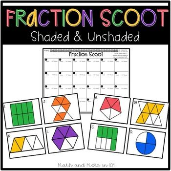 Identifying fractions task cards. Fraction clipart unshaded