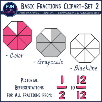 Basic fractions set halves. Fraction clipart unshaded