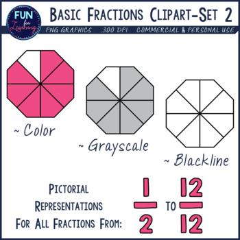 Basic set halves through. Fractions clipart unshaded