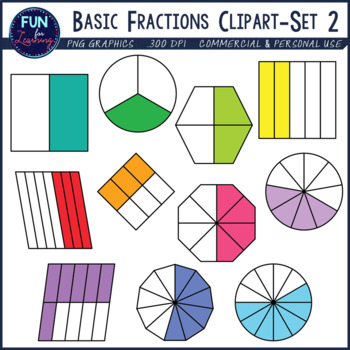 Fraction clipart unshaded. Basic fractions set halves
