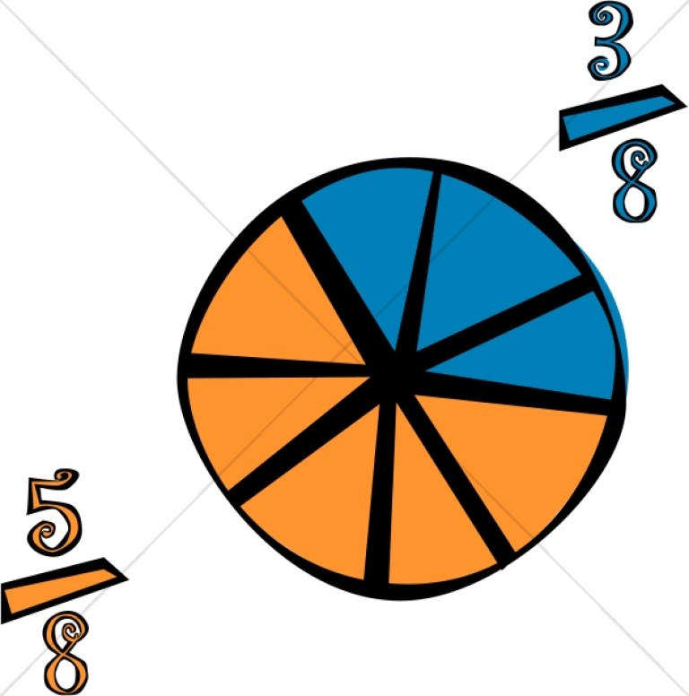 Fractions math and diagram. Fraction clipart pie chart