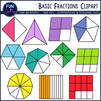 Basic set halves through. Fractions clipart