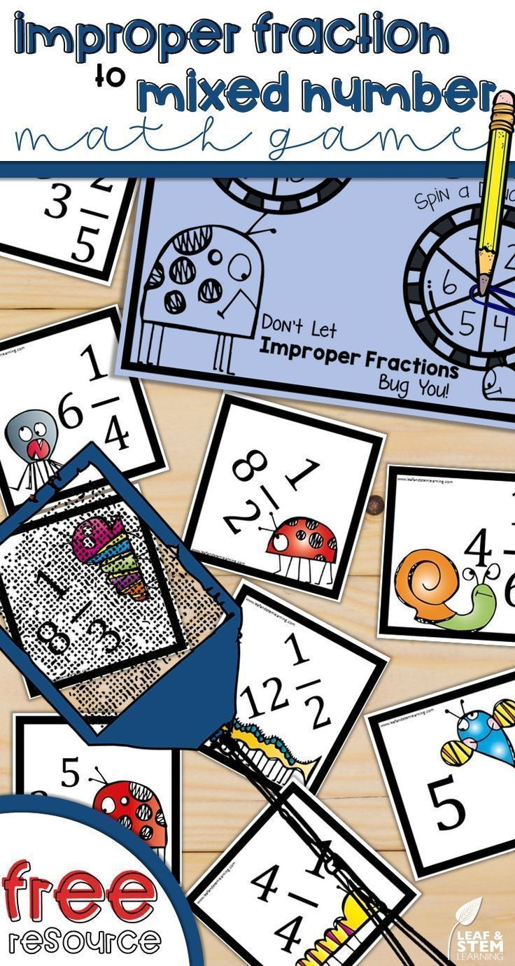 Improper to mixed numbers. Fractions clipart 5th grade math