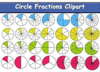 Circle fraction maths clip. Fractions clipart basic