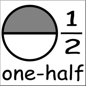 Clip art labeled one. Fractions clipart half