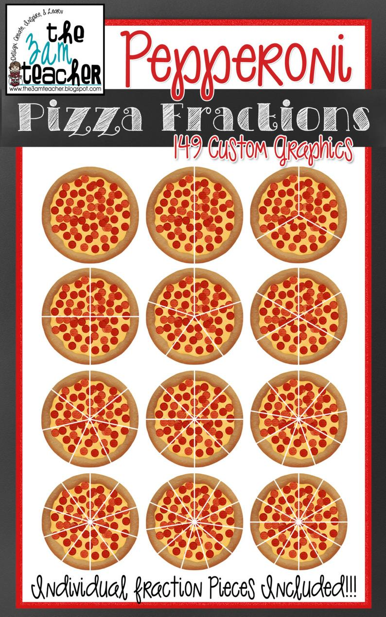 Fractions clipart pizza craft. Yummy pepperoni clip art