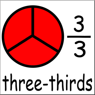 Fractions clipart third. Clip art labeled three