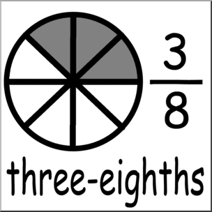 Clip art labeled three. Fractions clipart third