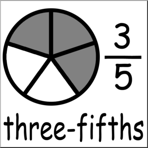 Fractions clipart three fifth. Clip art labeled fifths