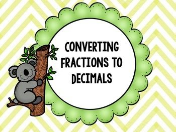 Converting to decimals freebies. Fractions clipart title page