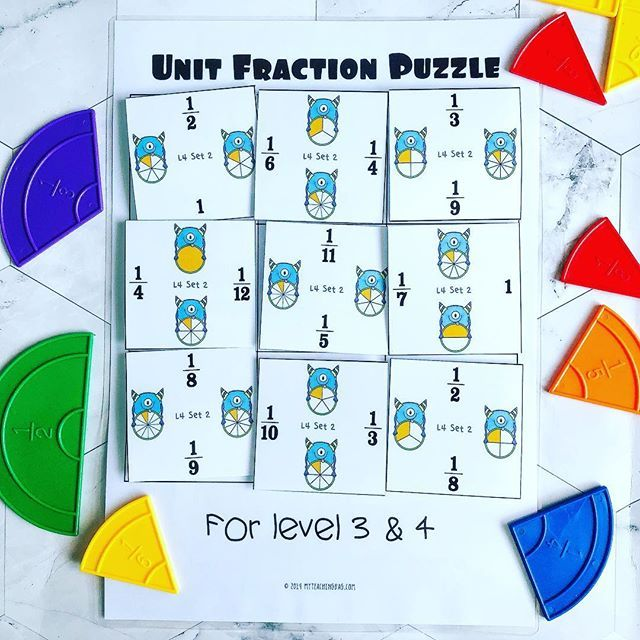 Fractions clipart unit fraction. Puzzles in different levels