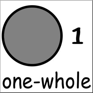 Fractions clipart whole. Clip art labeled one