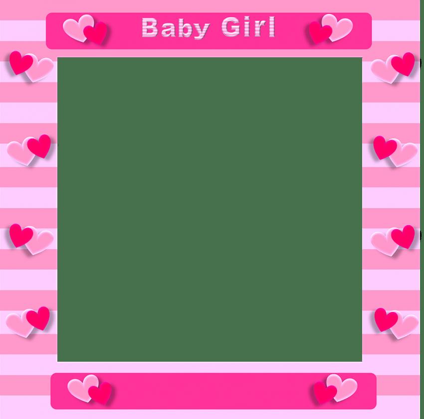 Frames clipart baby girl. Pink border frame png
