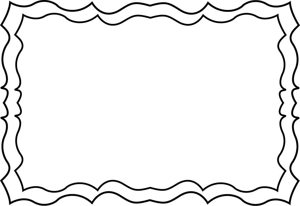 Frames clipart book. Black and white squiggly