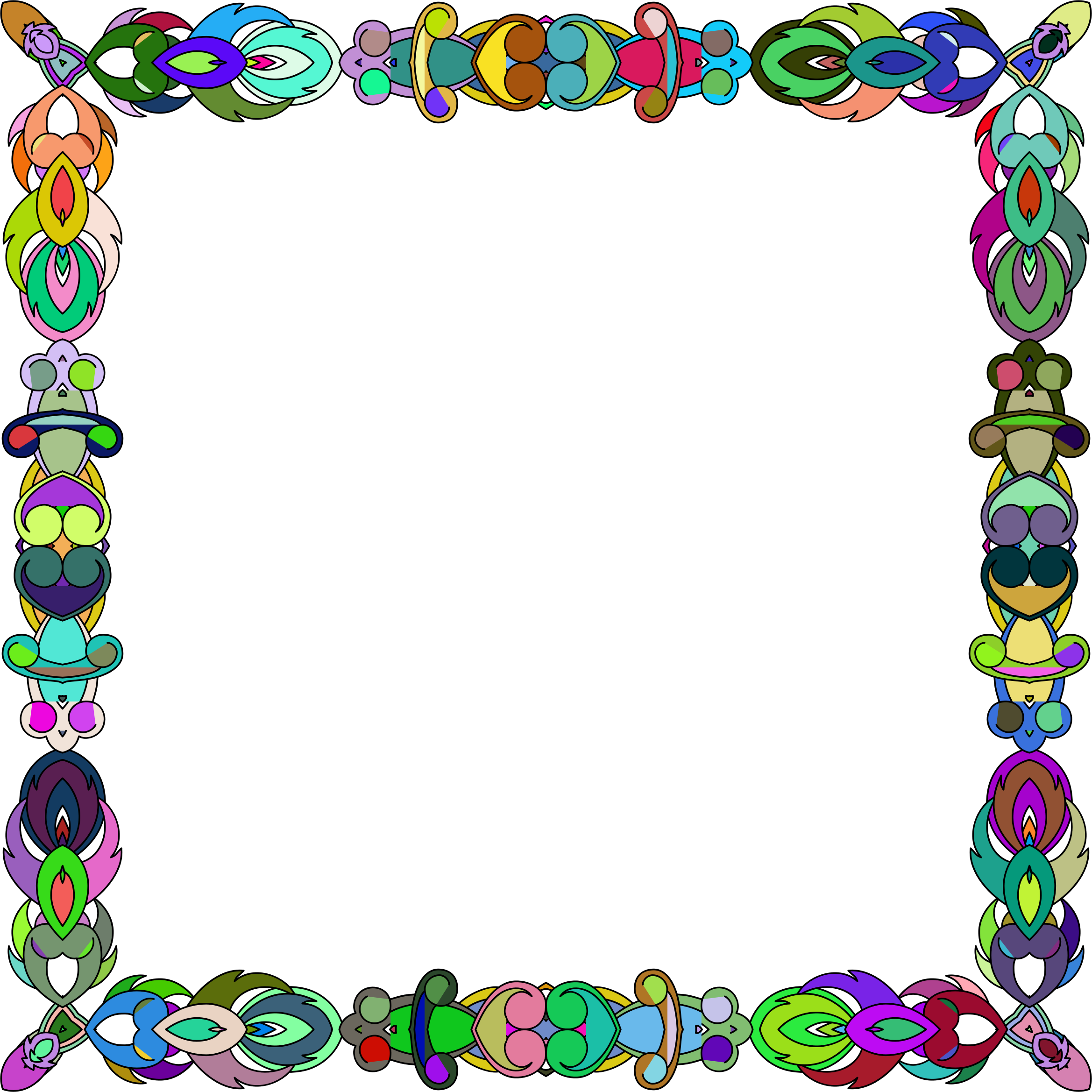 Abstract icons png free. Frame clipart colorful
