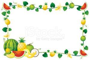 Mixed border stock vectors. Fruits clipart frame