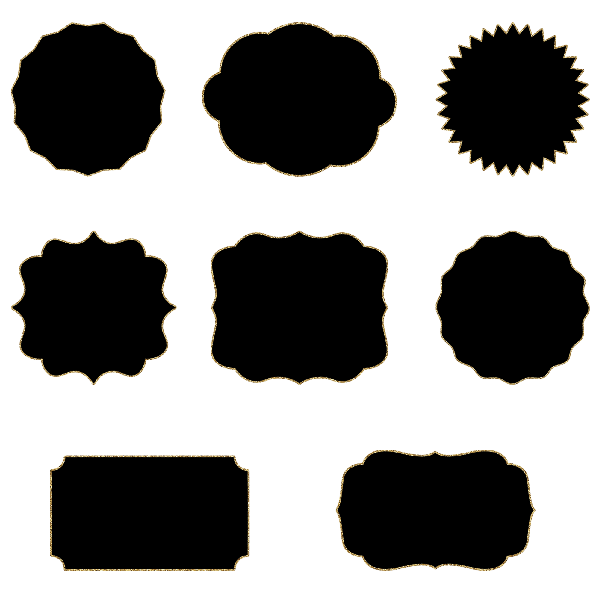 Ornate frames black and. Glitter clipart file