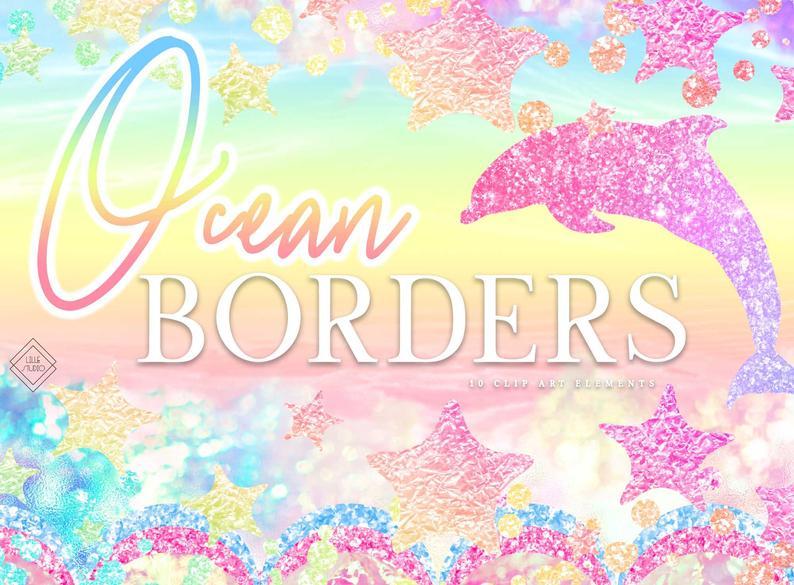 Border mermaid rainbow borders. Ocean clipart frame
