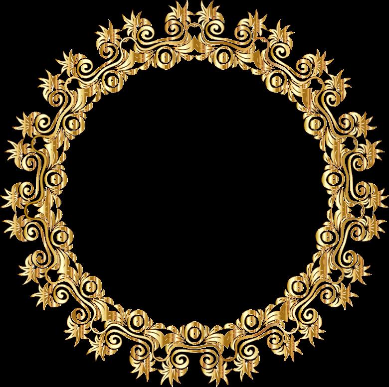 Gold floral flourish motif. Frame clipart summer