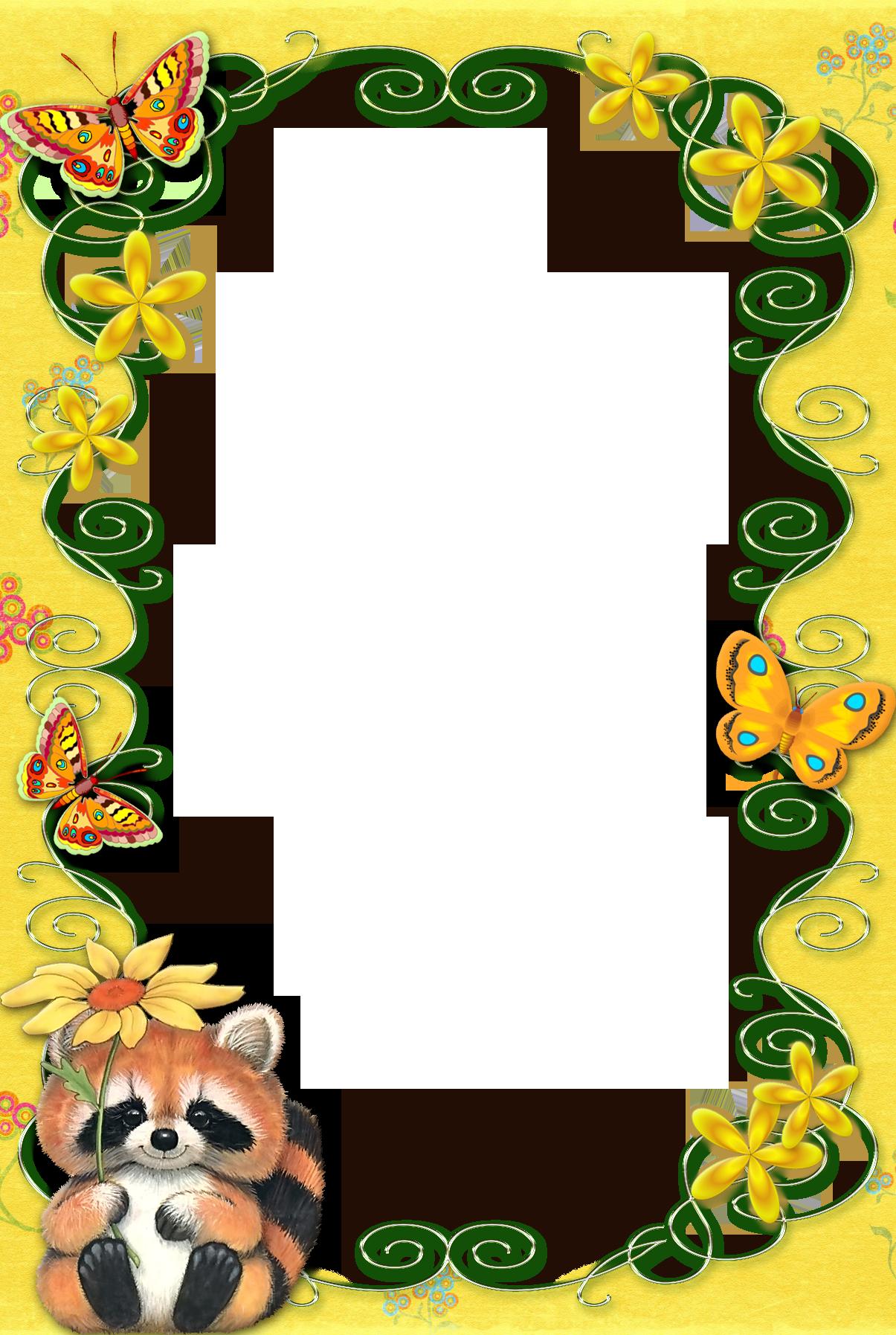 Yellow kids transparent frame. Frames clipart woodland