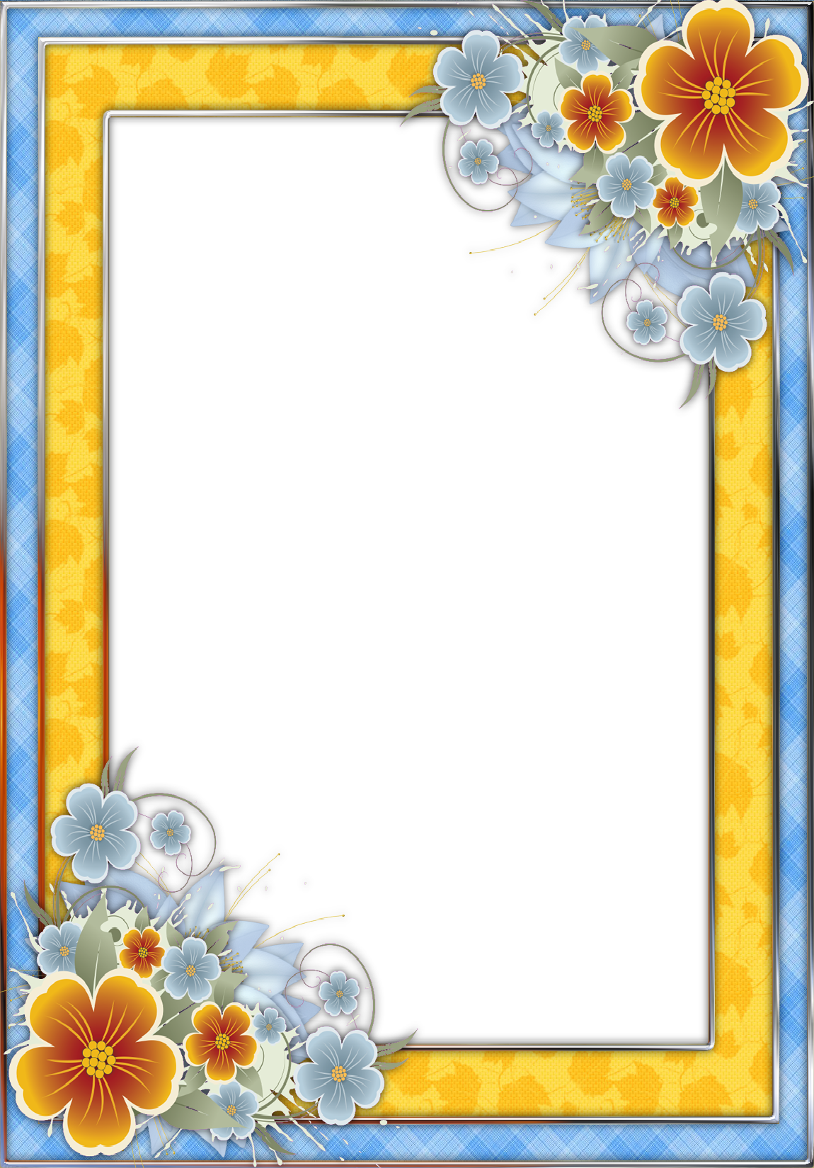 Yellow frame png. Blue and transparent with