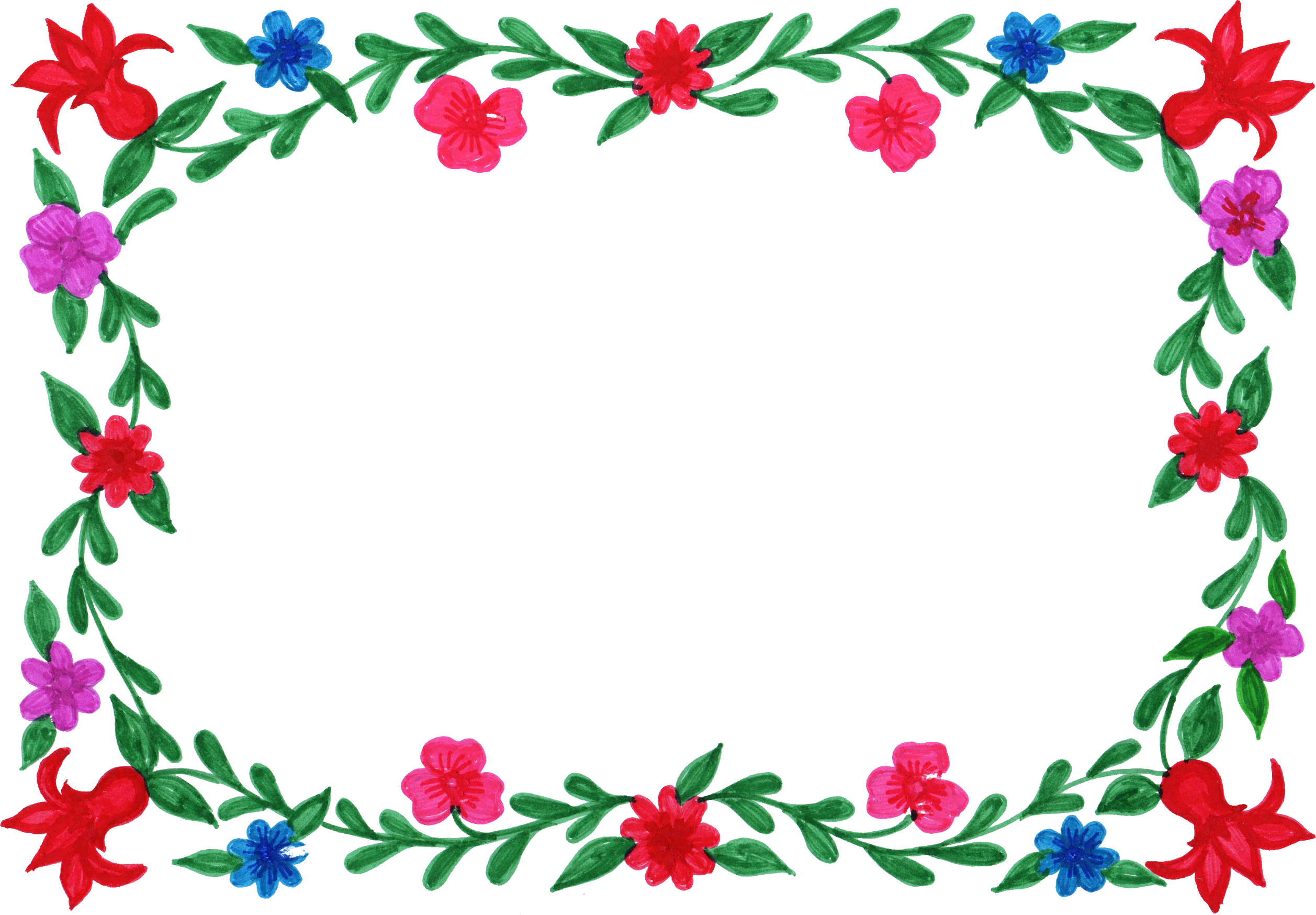 Frames clipart rectangle.  flower frame colorful