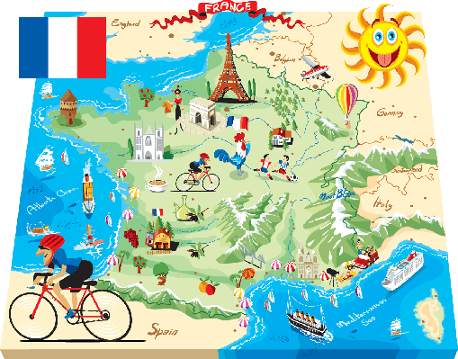 France clipart. Cartoon map of the