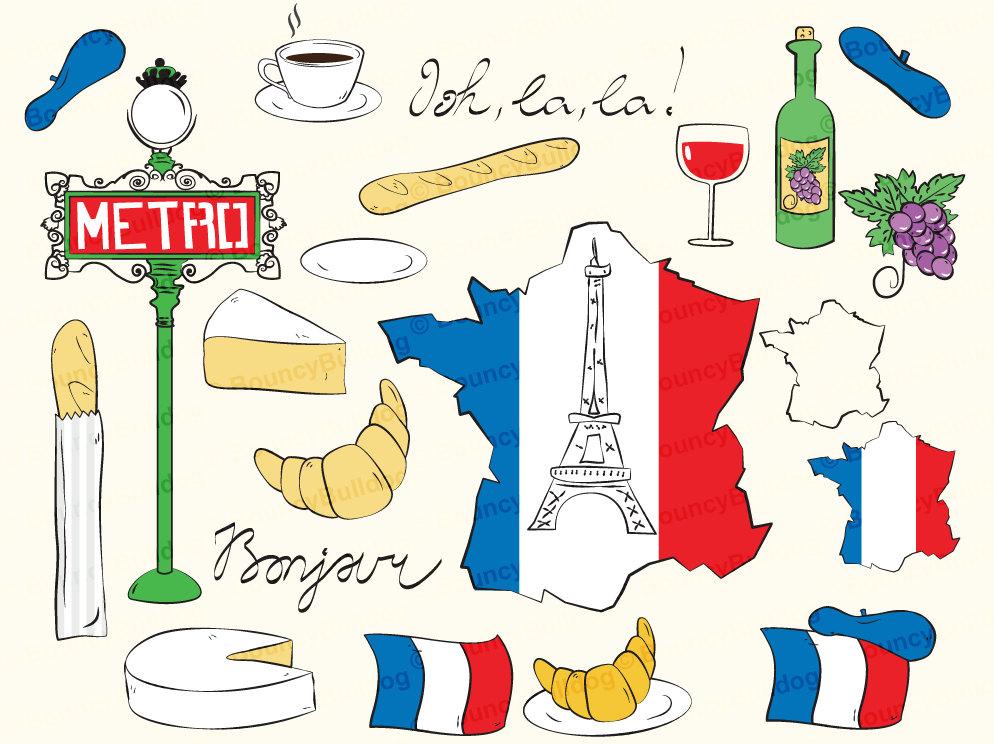 Eiffel tower paris map. France clipart