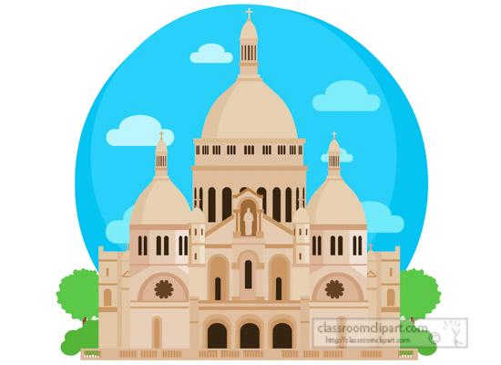 Europe basilica sacre coeur. France clipart