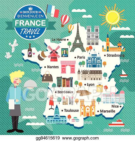 France clipart attraction france. Vector art travel map