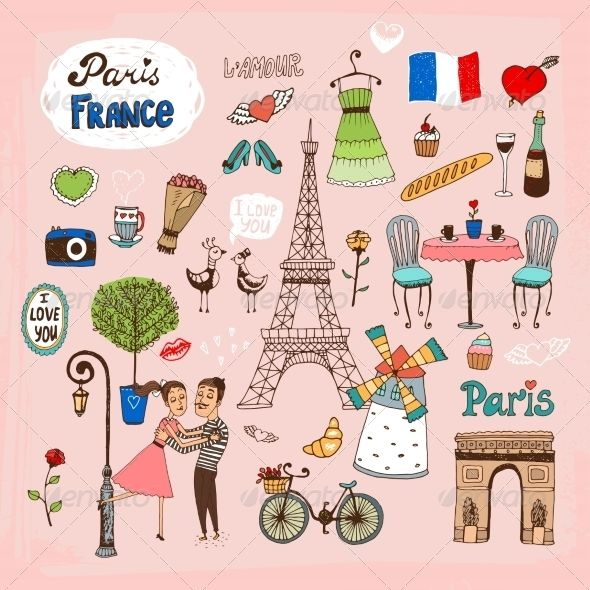 Paris landmarks and icons. France clipart attraction france