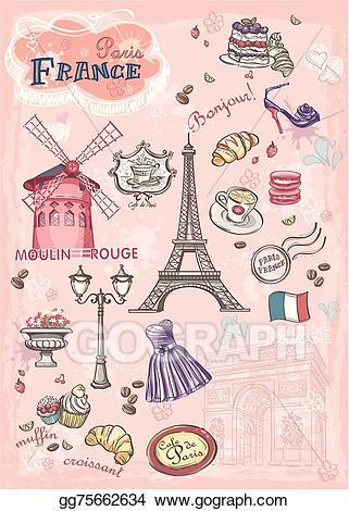 Clip art vector set. France clipart attraction france