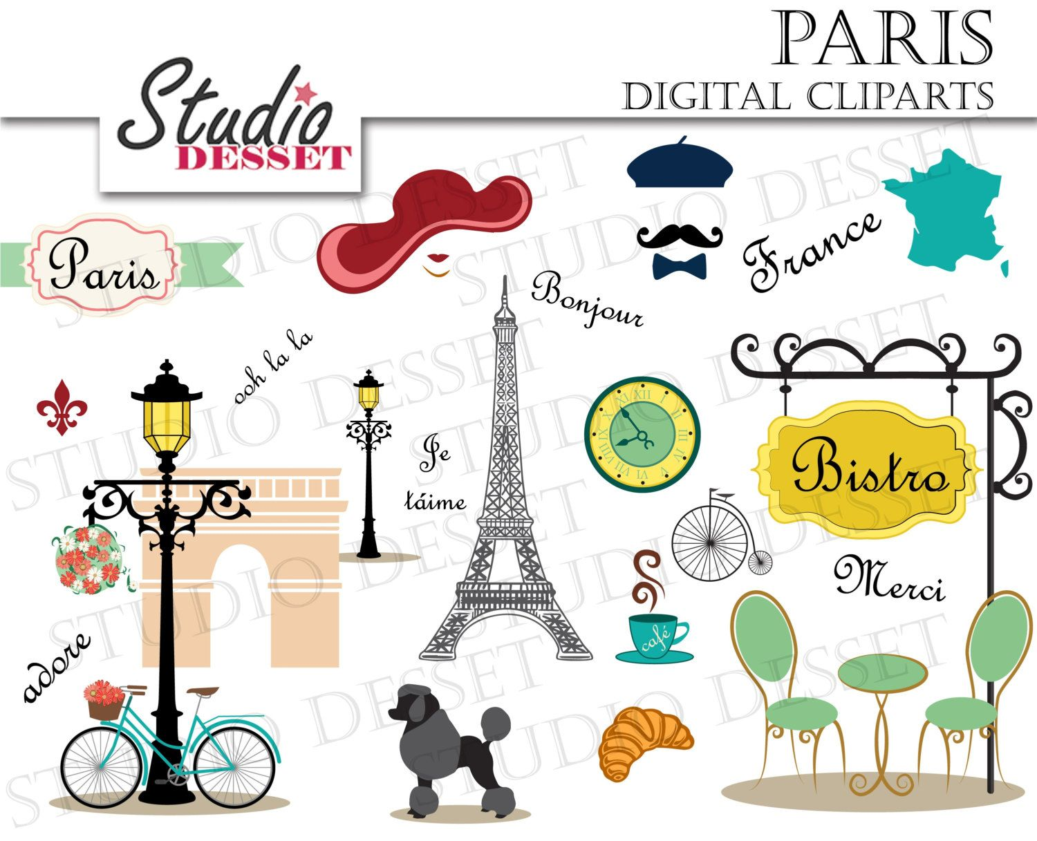 France clipart cartoon. Pink poodle eiffel tower